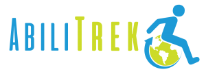 "AbiliTrek Logo: AbiliTrek, written in capital text; ""Abili"" in blue and ""Trek"" in green. A wheelchair symbol in blue with a green world as the wheel sits to the right of AbiliTrek."
